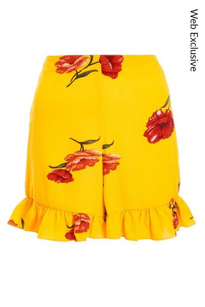 Yellow and Red Floral Print High Waist Shorts
